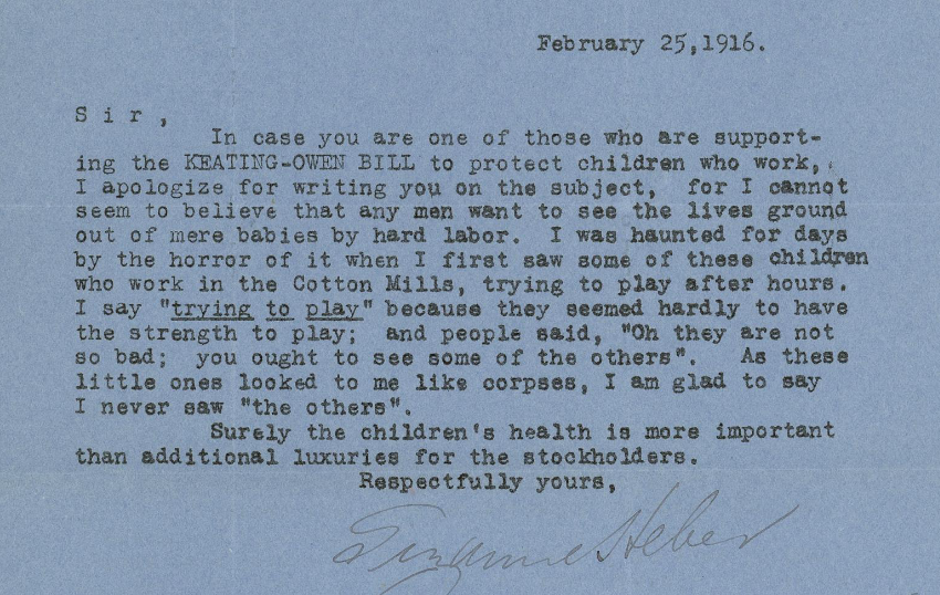 Letter From Child Labor Keating-owen Child Labor